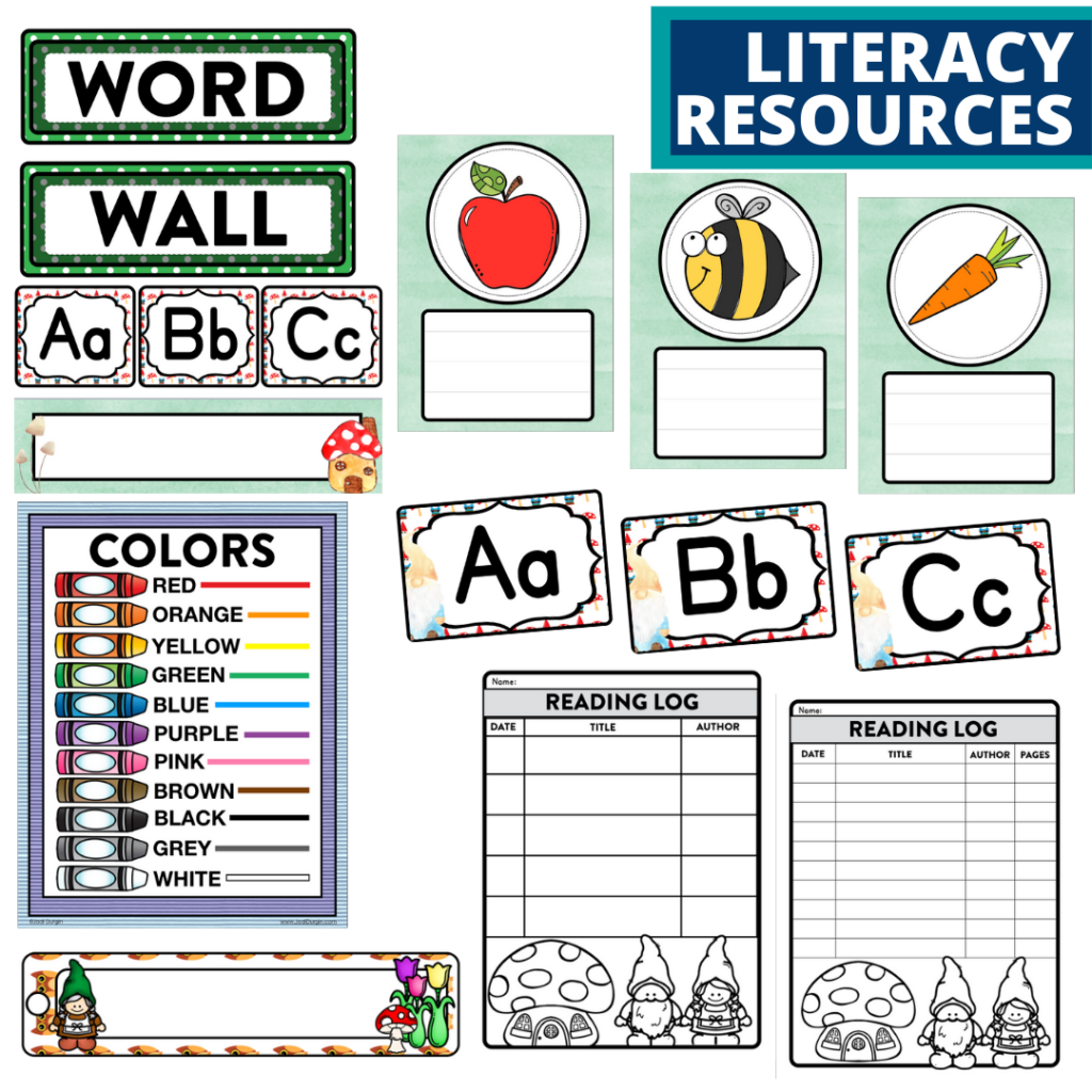 elementary classroom word wall and reading logs for a gnome themed classroom