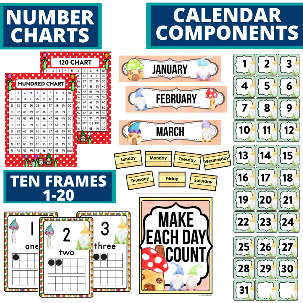 DIY printable classroom calendar for elementary teachers using a gnome classroom theme