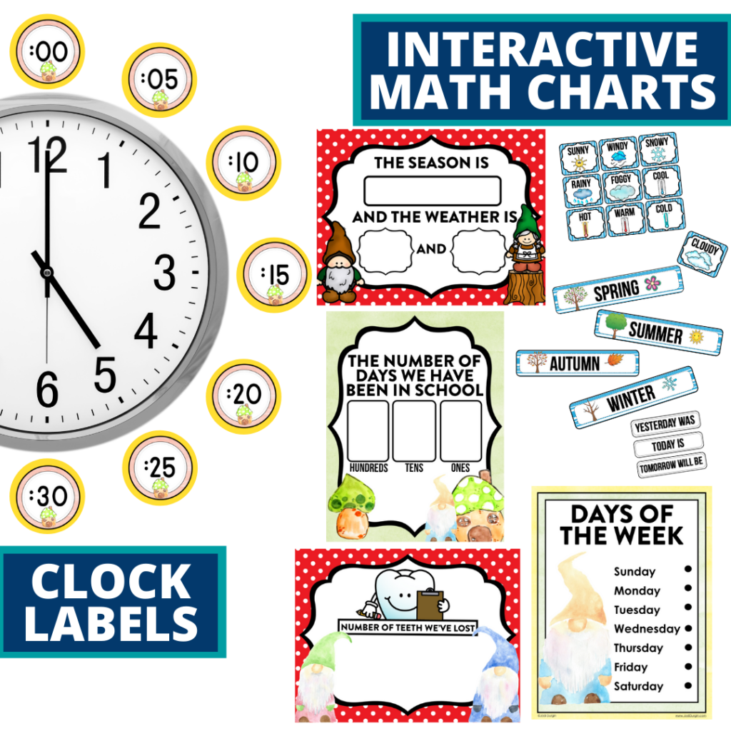 gnome themed math resources for telling time, place value and the days of the week