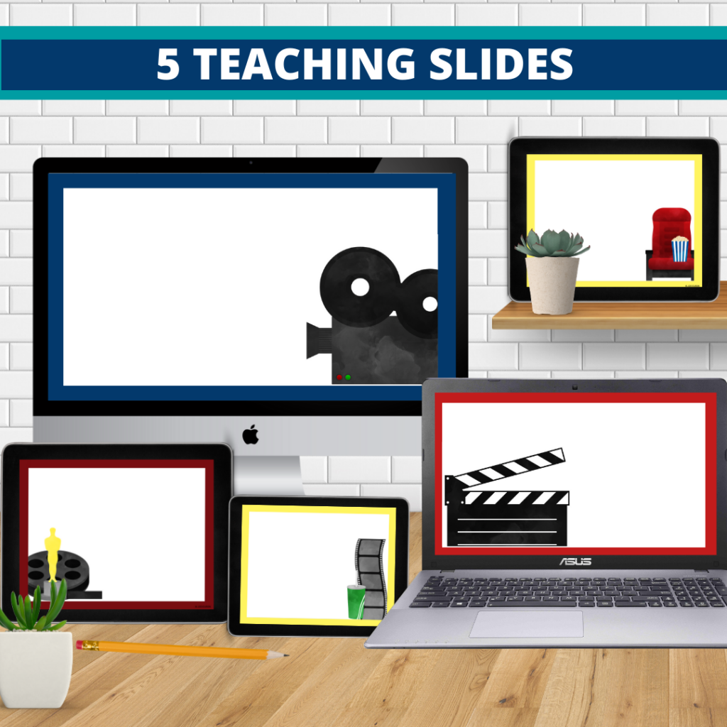 hollywood theme google classroom slides and powerpoint templates for elementary teachers shown on computers