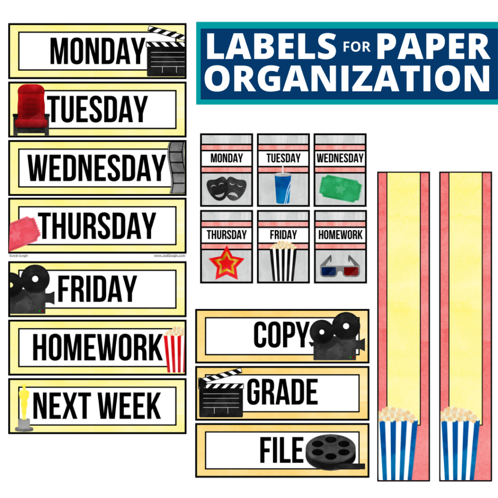 hollywood theme labels for paper organization in the classroom