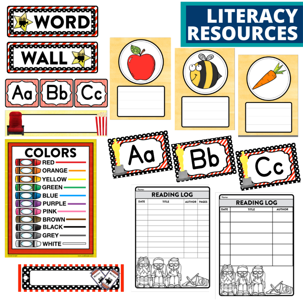 elementary classroom word wall and reading logs for a hollywood themed classroom