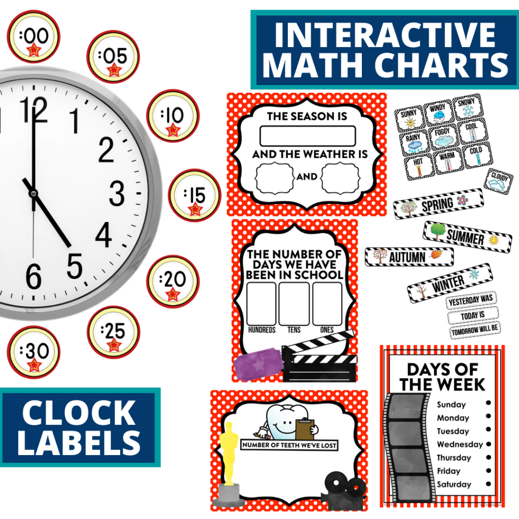 hollywood themed math resources for telling time, place value and the days of the week