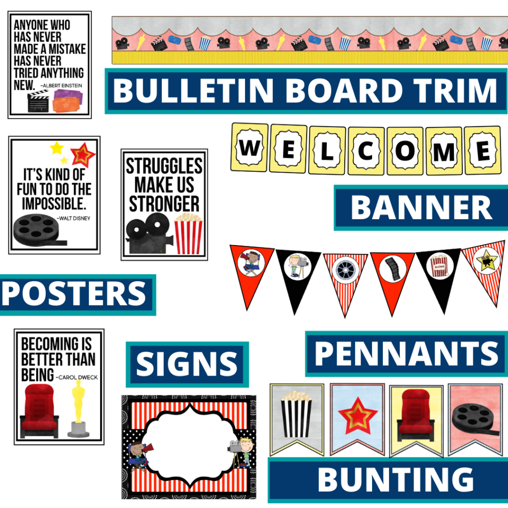hollywood theme bulletin board trim with pennants, banner and bunting