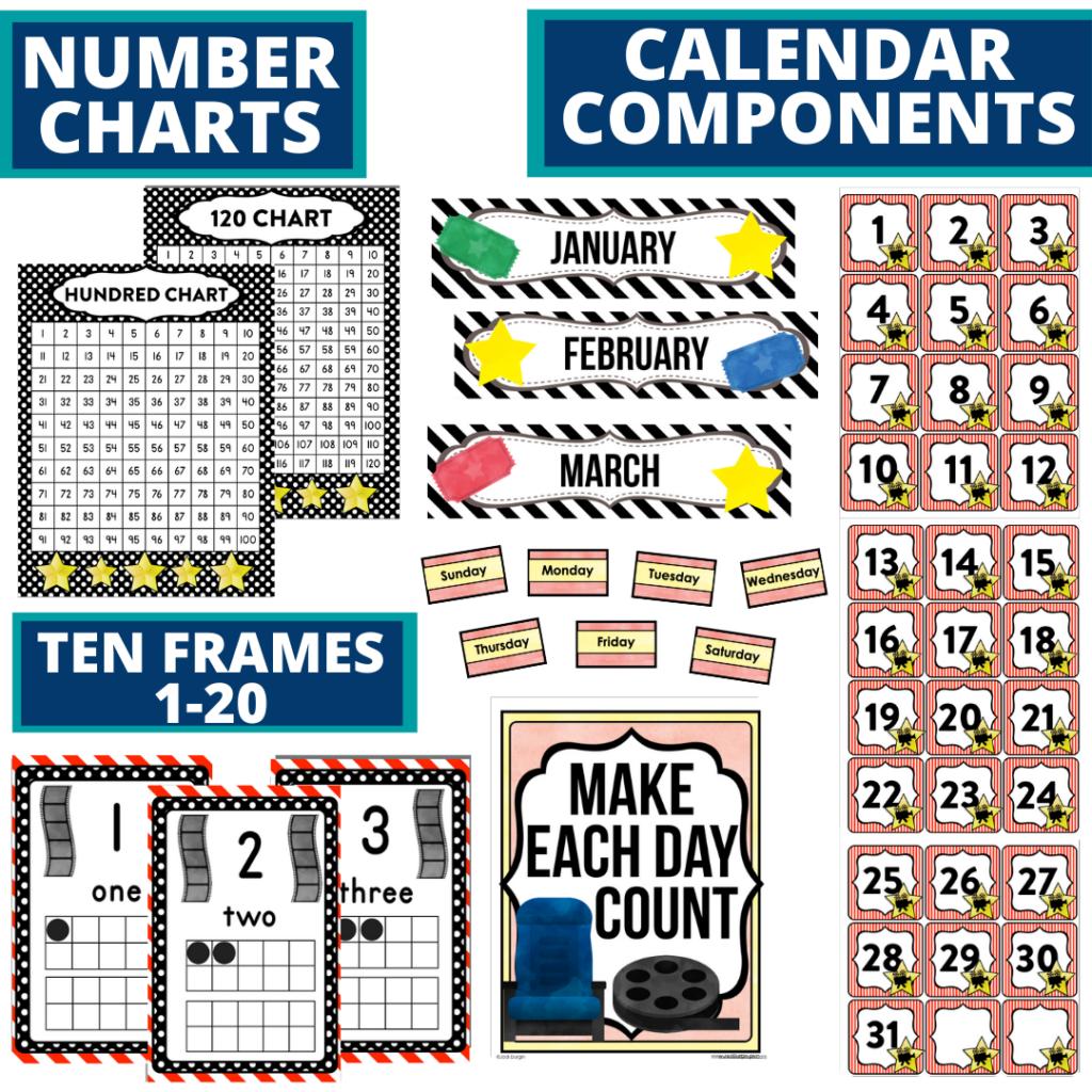 DIY printable classroom calendar for elementary teachers using a hollywood classroom theme