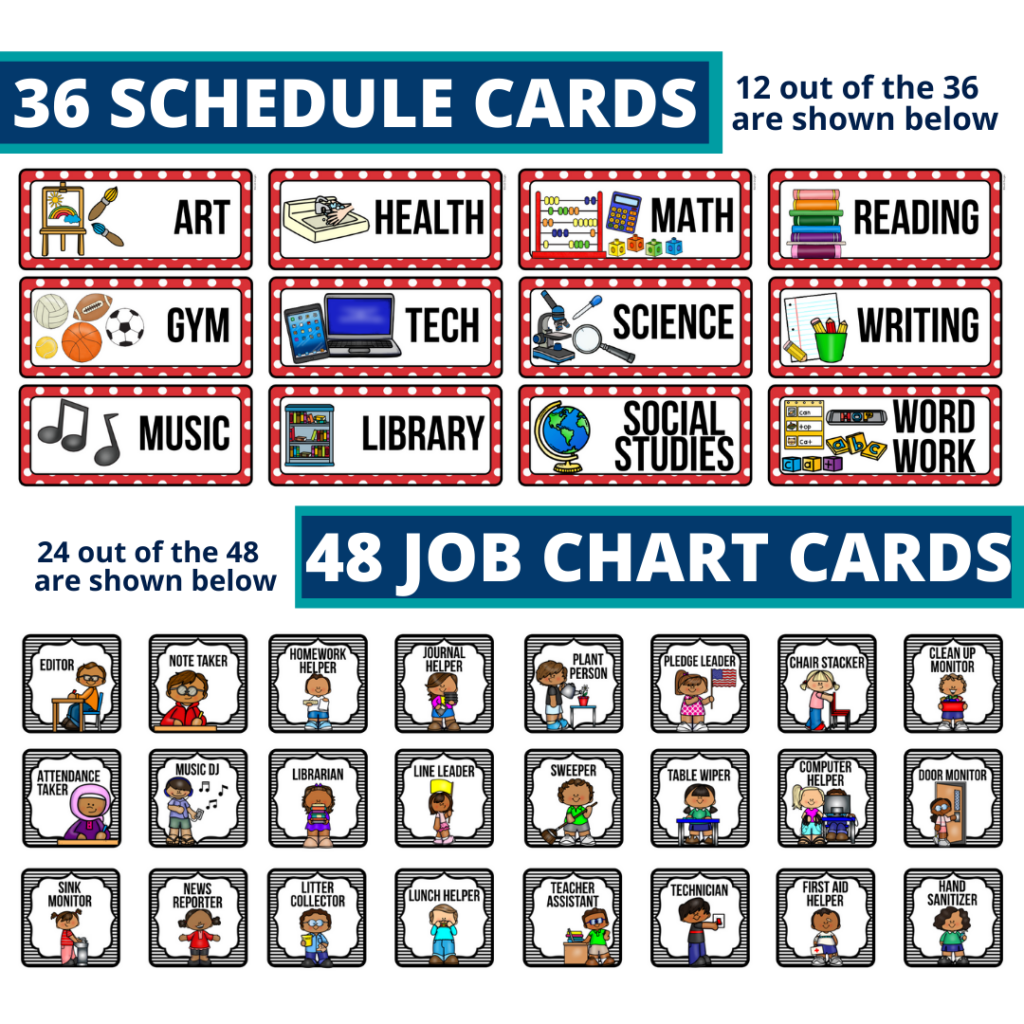 editable elementary schedule cards and job chart labels with a ladybug theme