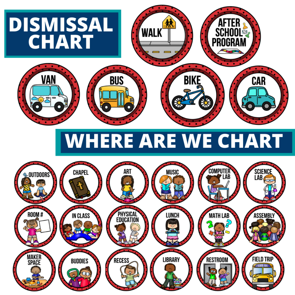 ladybug theme editable dismissal chart for elementary classrooms with for better classroom
