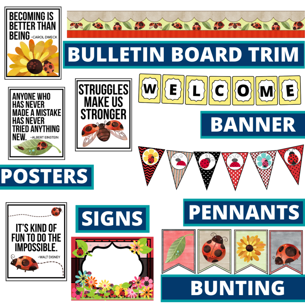 ladybug theme bulletin board trim with pennants, banner and bunting