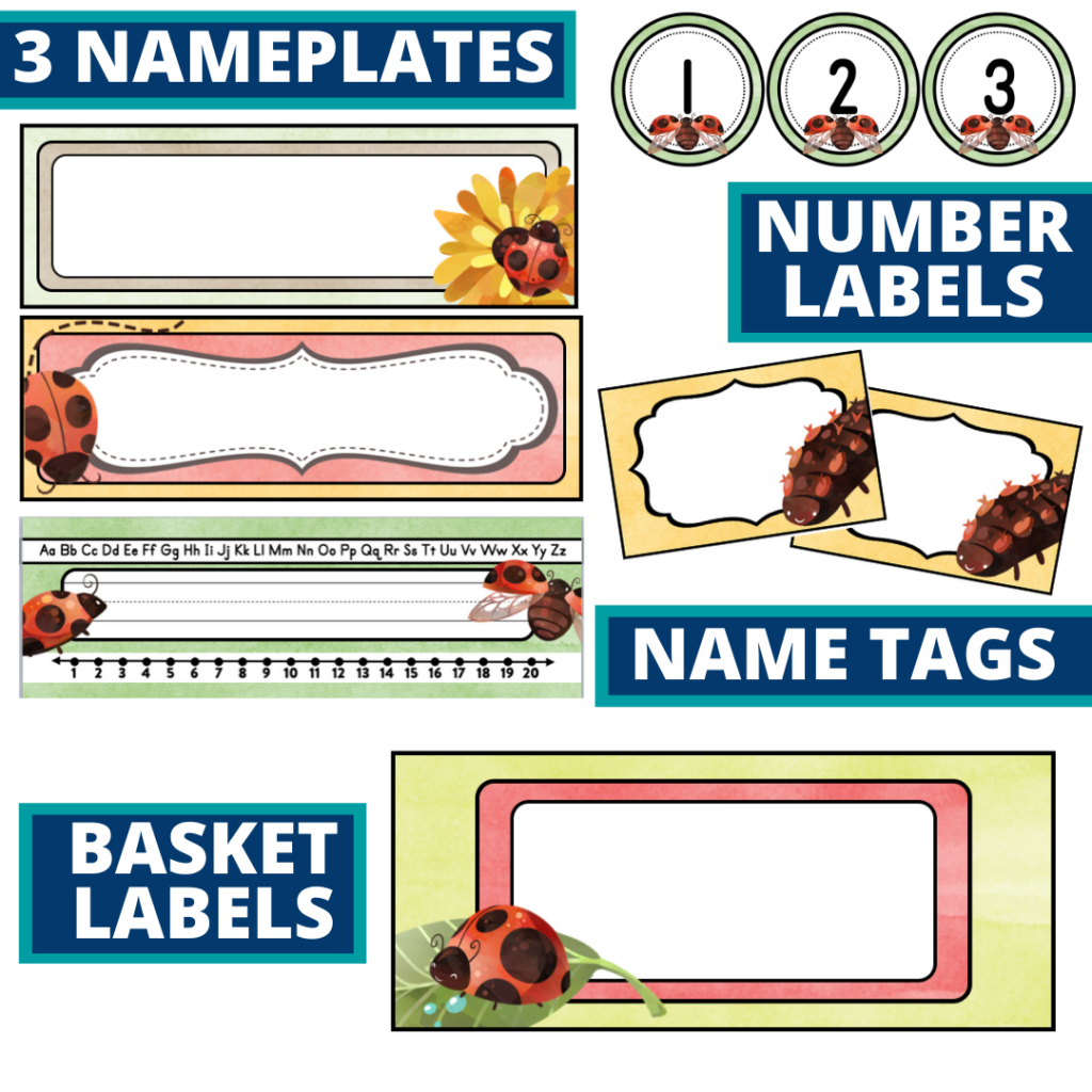 editable nameplates and basket labels for a ladybug themed classroom