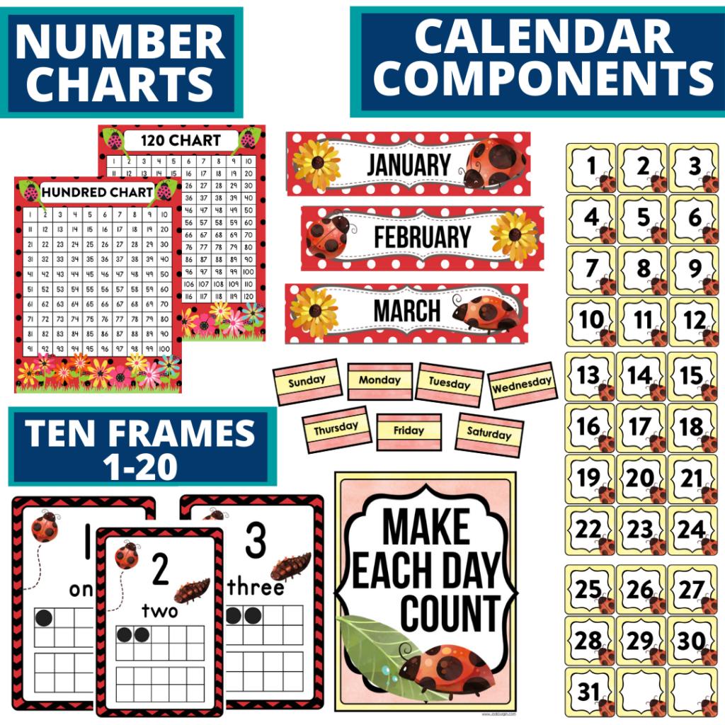 DIY printable classroom calendar for elementary teachers using a ladybug classroom theme