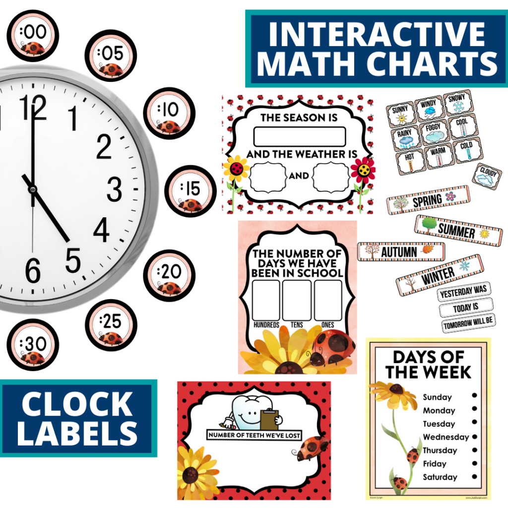 ladybug themed math resources for telling time, place value and the days of the week