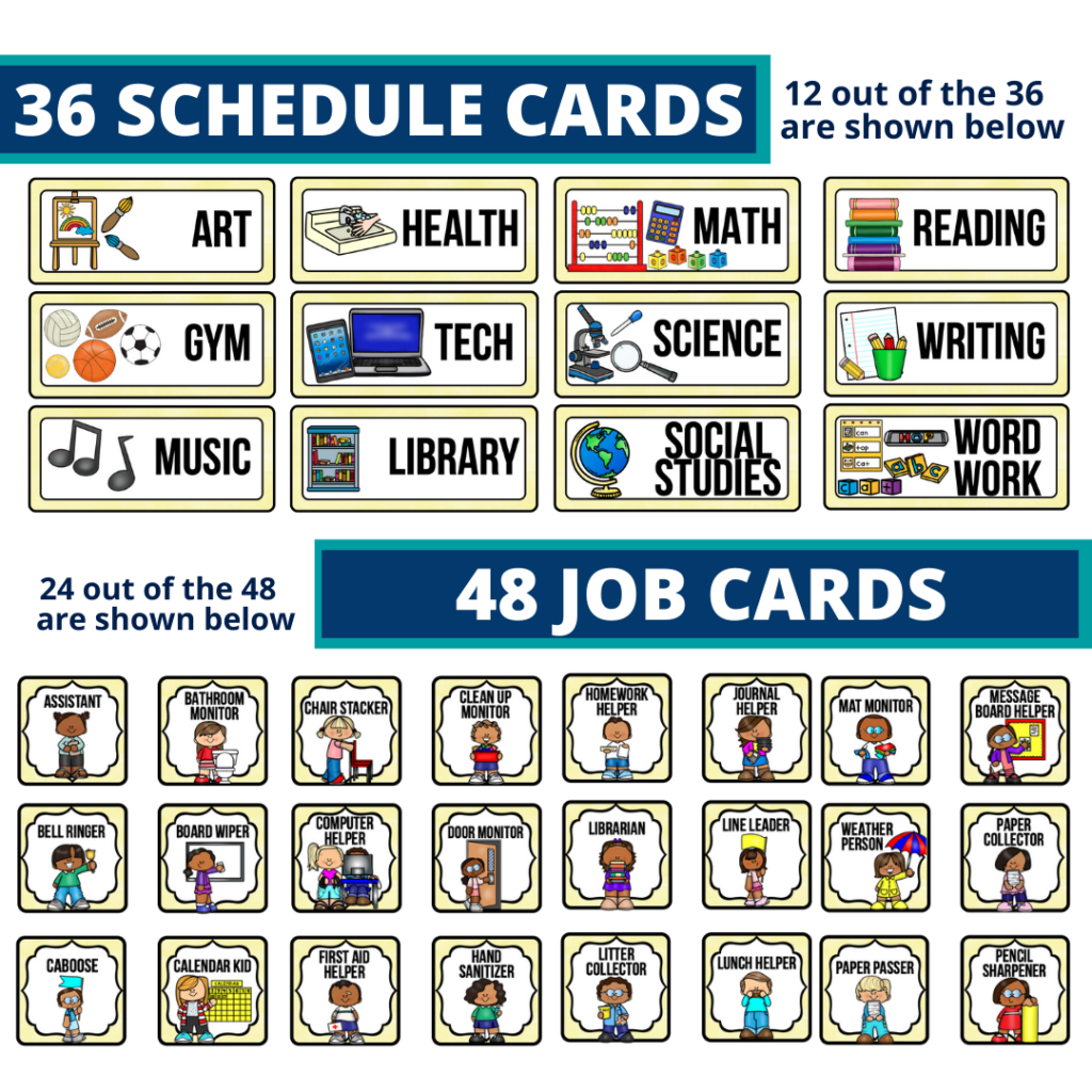 editable elementary schedule cards and job chart labels with a lemons theme