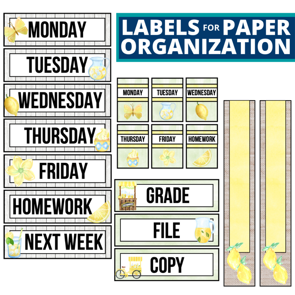 lemons theme labels for paper organization in the classroom