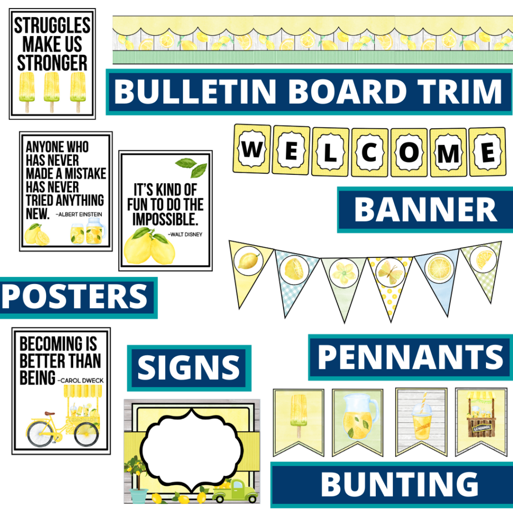 lemons theme bulletin board trim with pennants, banner and bunting