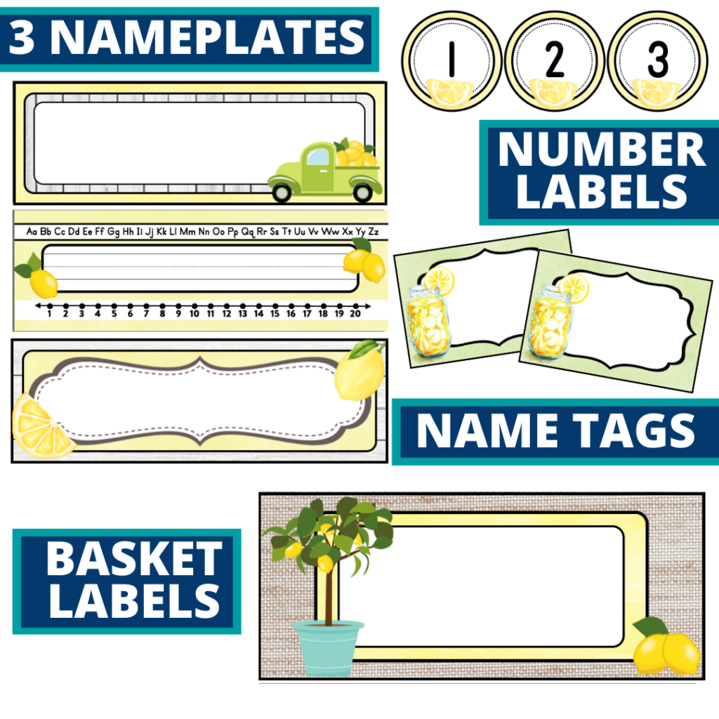 editable nameplates and basket labels for a lemons themed classroom
