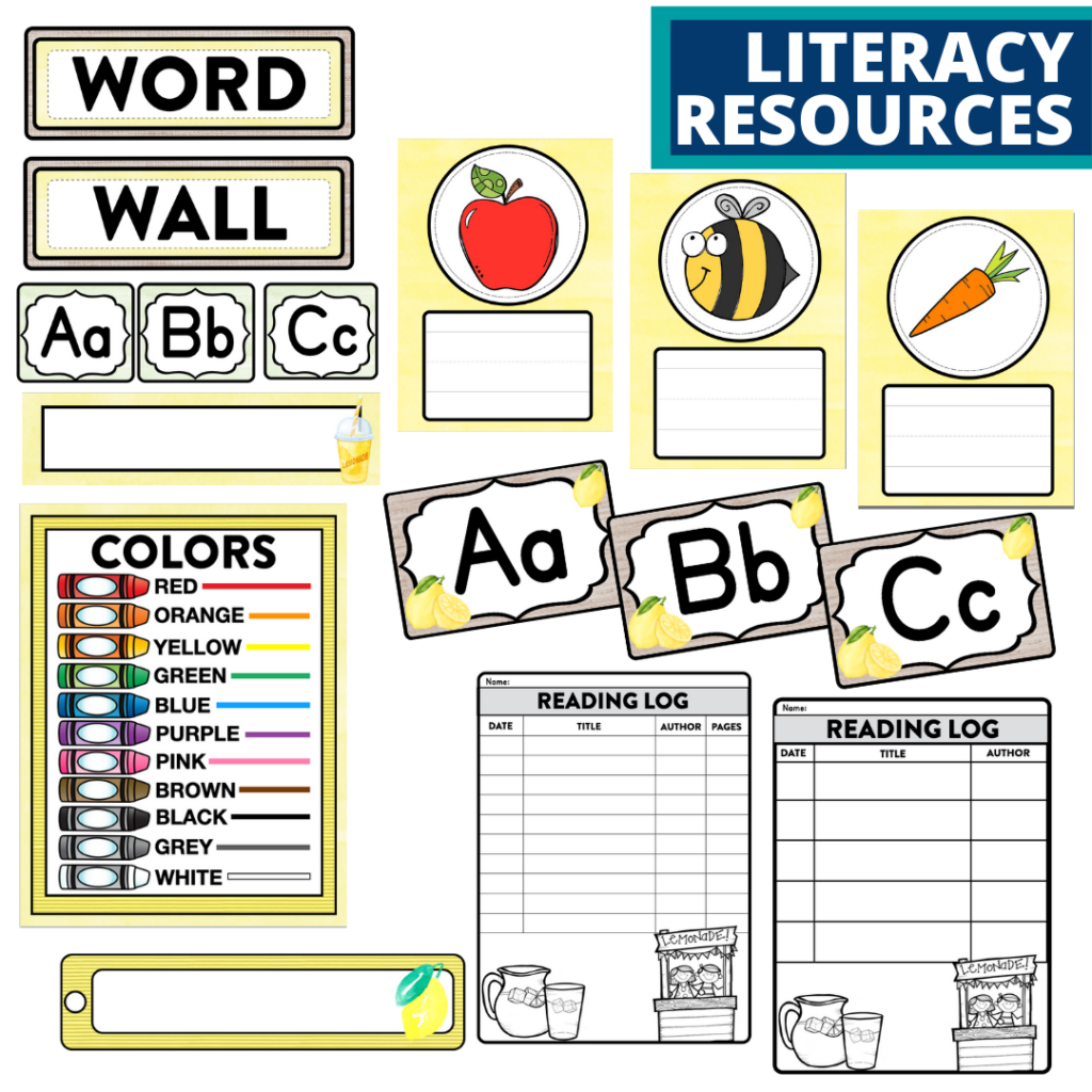 elementary classroom word wall and reading logs for a lemons themed classroom