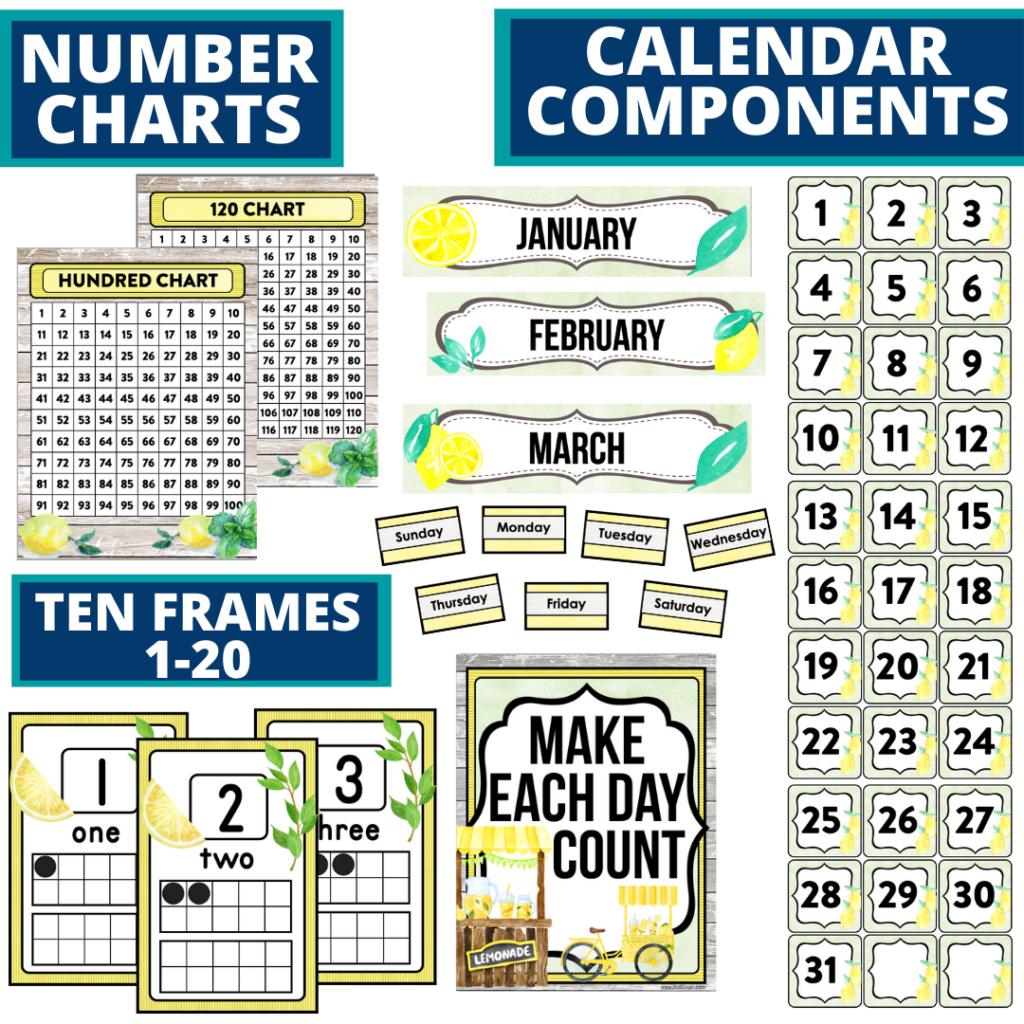 DIY printable classroom calendar for elementary teachers using a lemons classroom theme