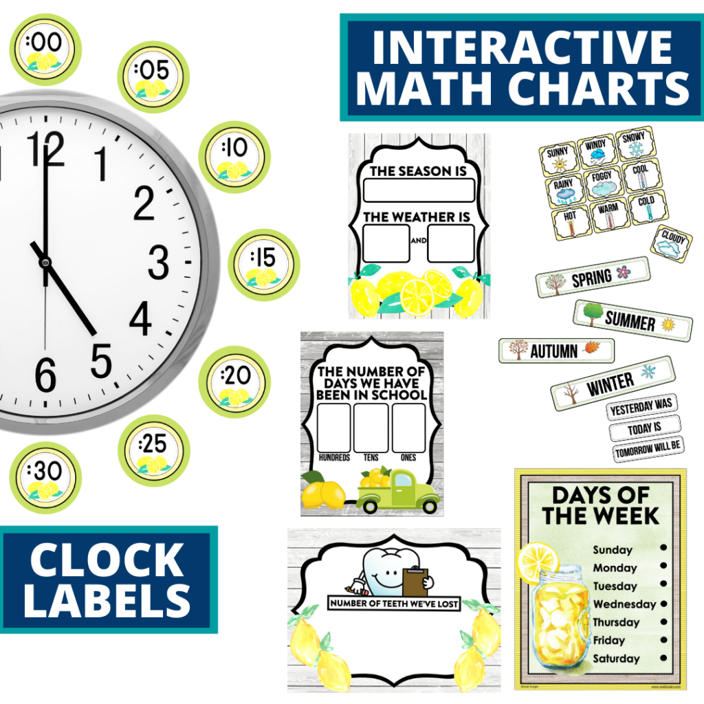 lemons themed math resources for telling time, place value and the days of the week