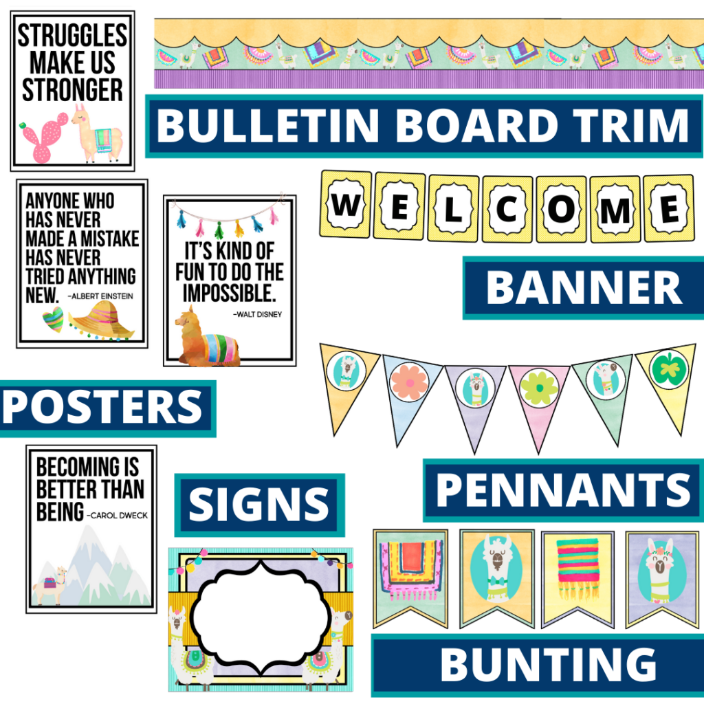llama theme bulletin board trim with pennants, banner and bunting