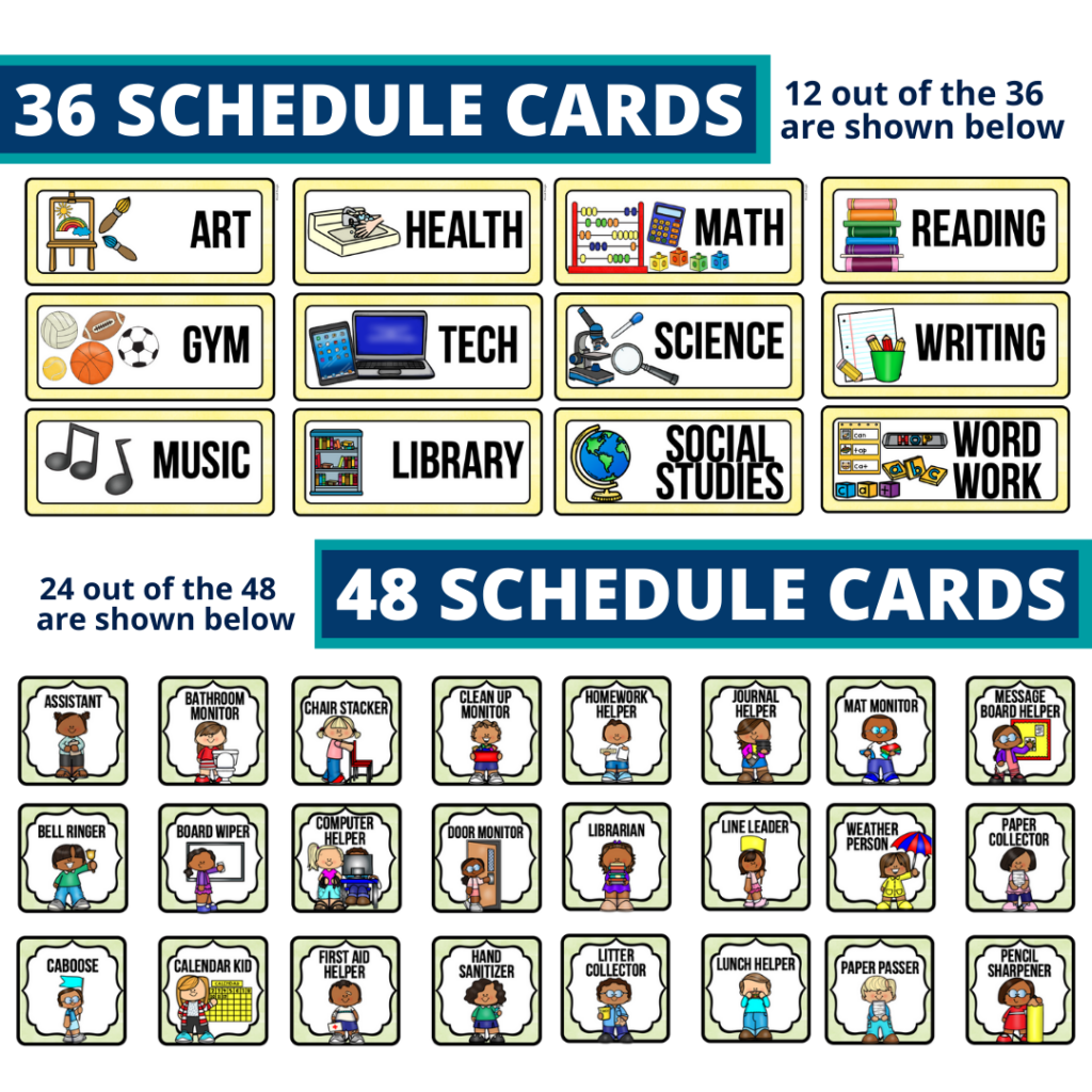 editable elementary schedule cards and job chart labels with a llama theme