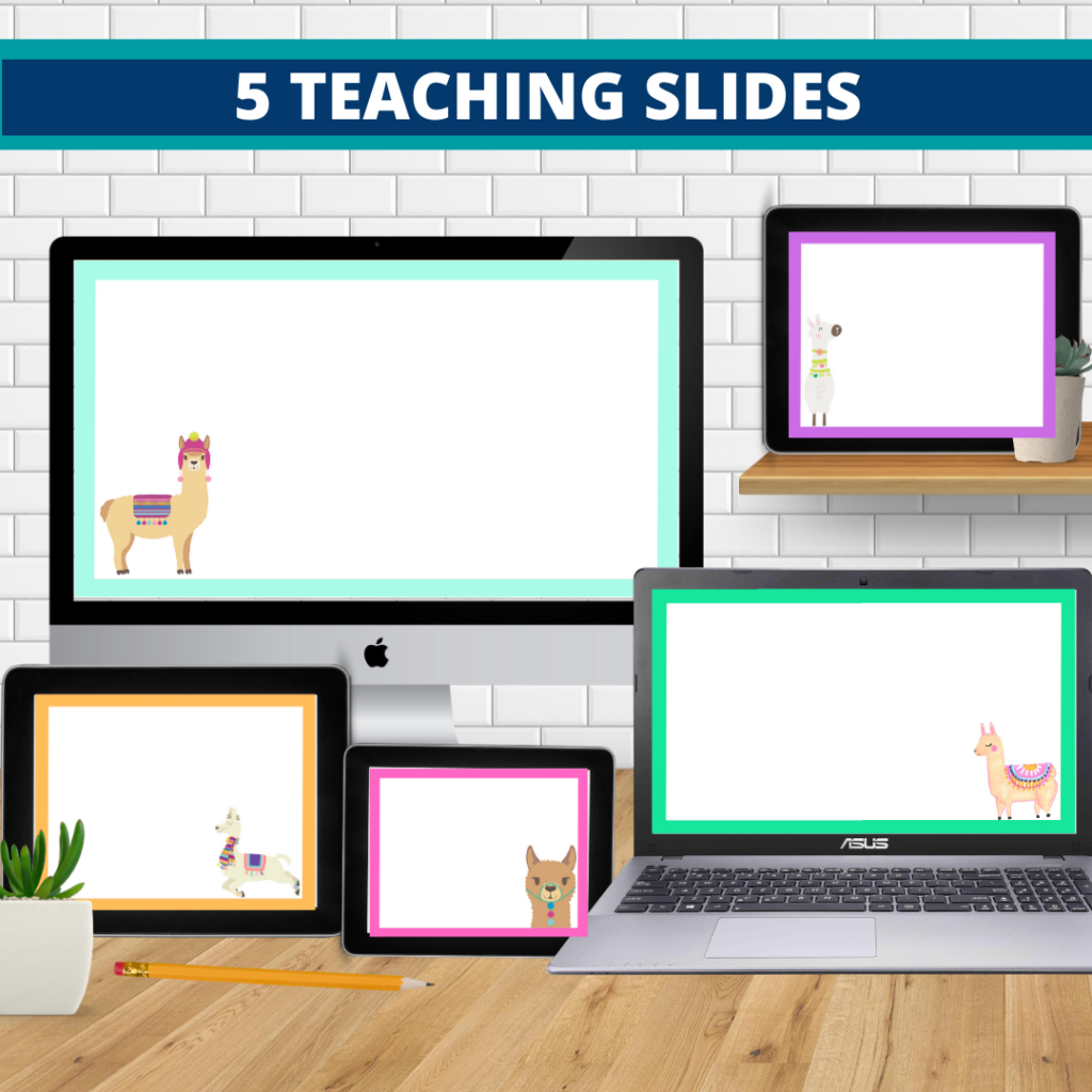 llama theme google classroom slides and powerpoint templates for elementary teachers shown on computers