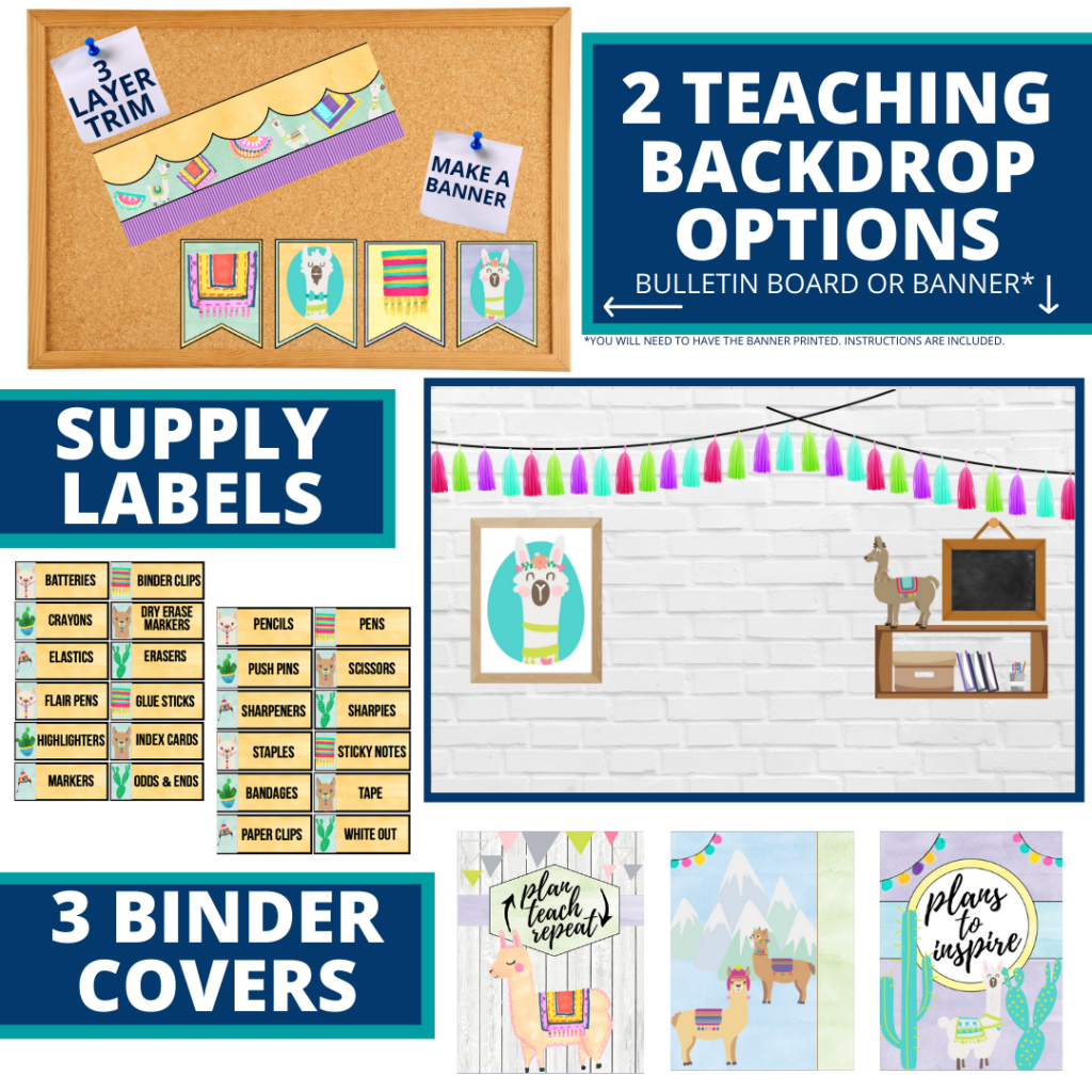 llama themed background for a cheap and easy online teaching or a VIP kid backdrop