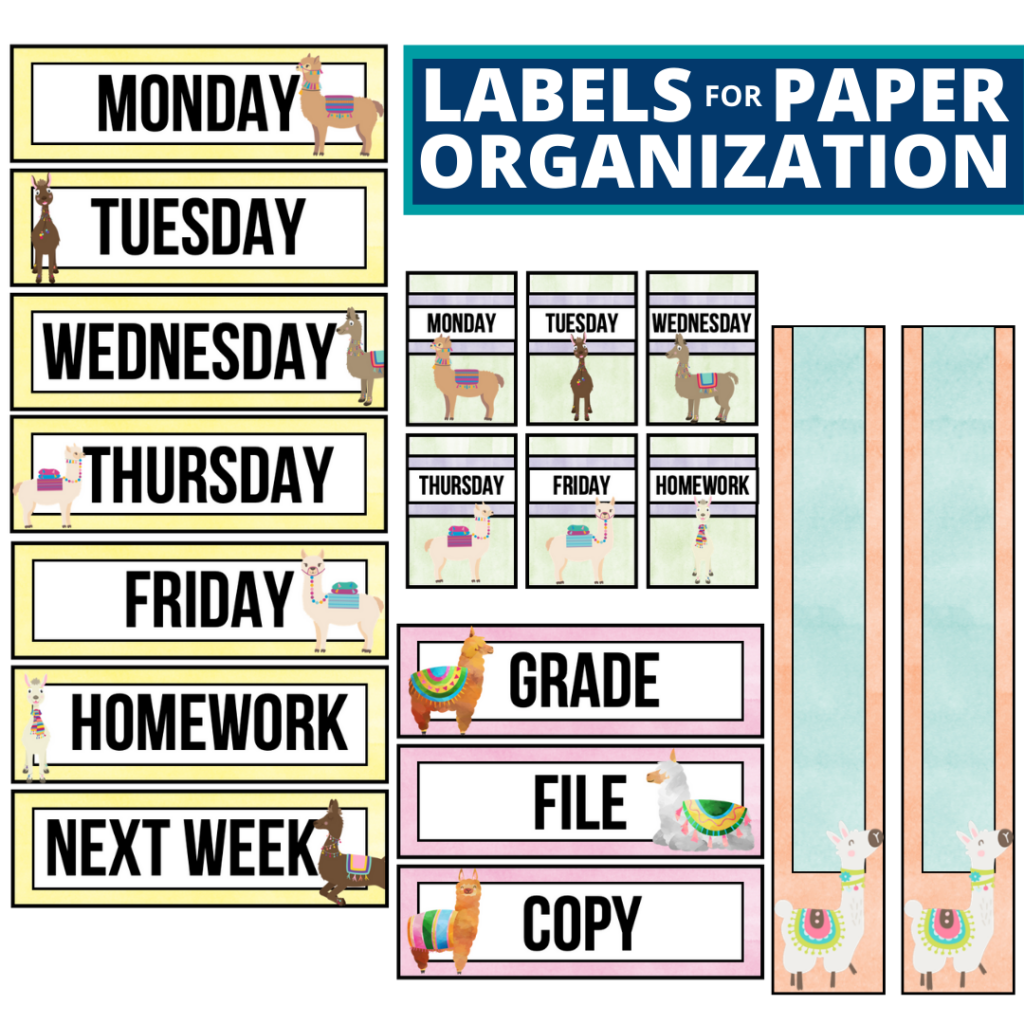 llama theme labels for paper organization in the classroom