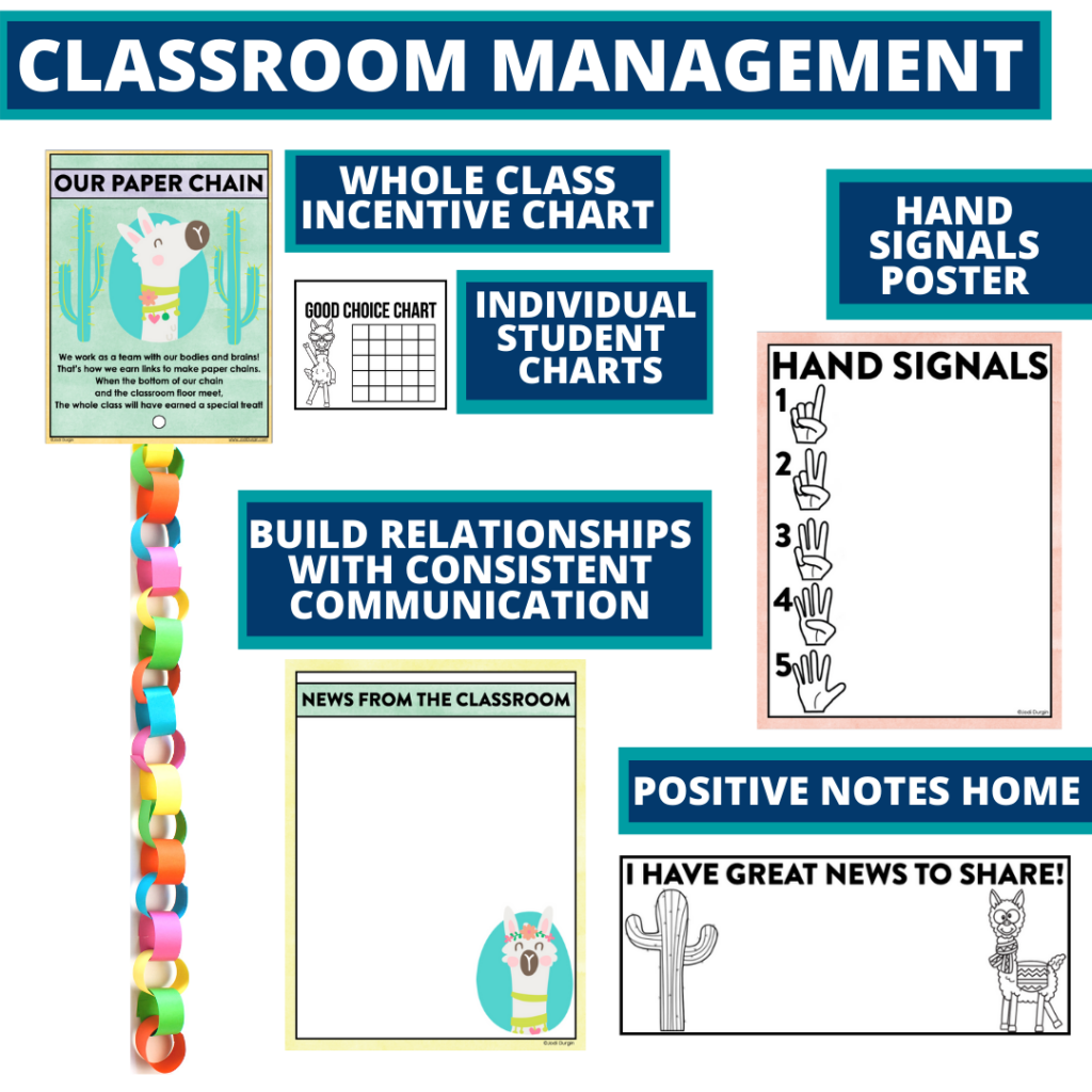 llama themed tools for improving student behavior in an elementary classroom