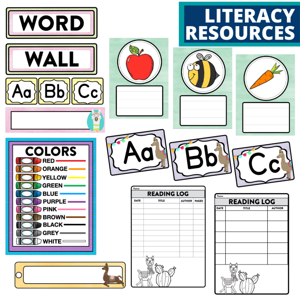 elementary classroom word wall and reading logs for a llama themed classroom