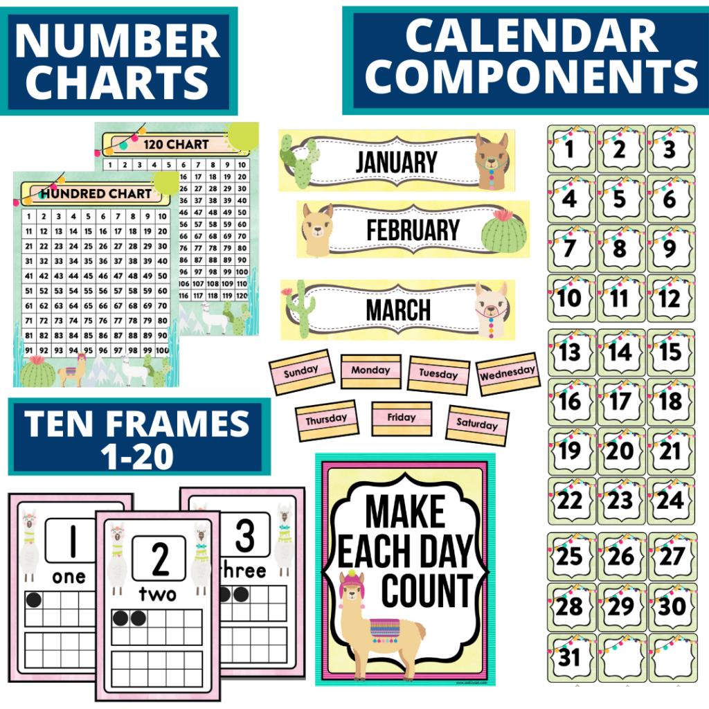 DIY printable classroom calendar for elementary teachers using a llama classroom theme