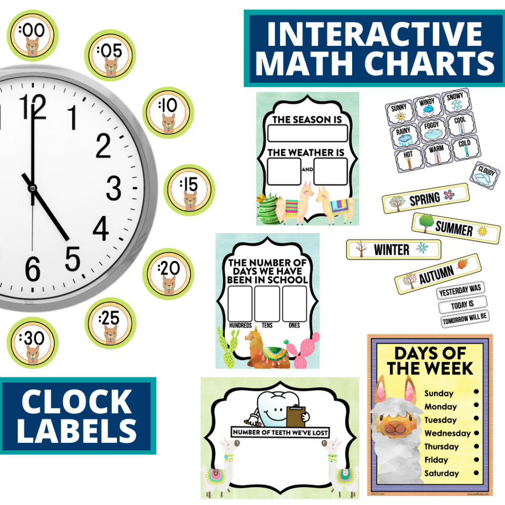 llama themed math resources for telling time, place value and the days of the week