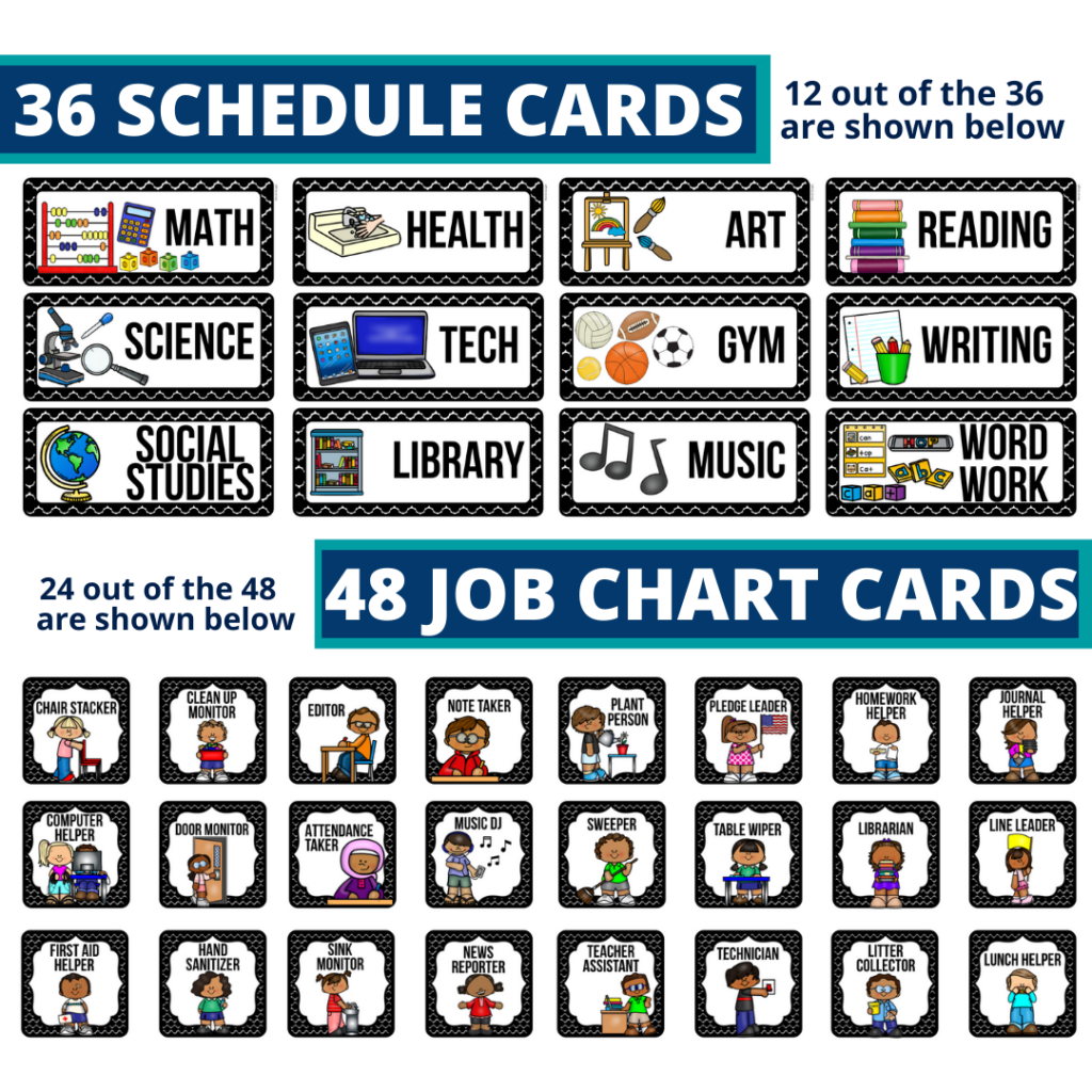 editable elementary schedule cards and job chart labels with a magic theme