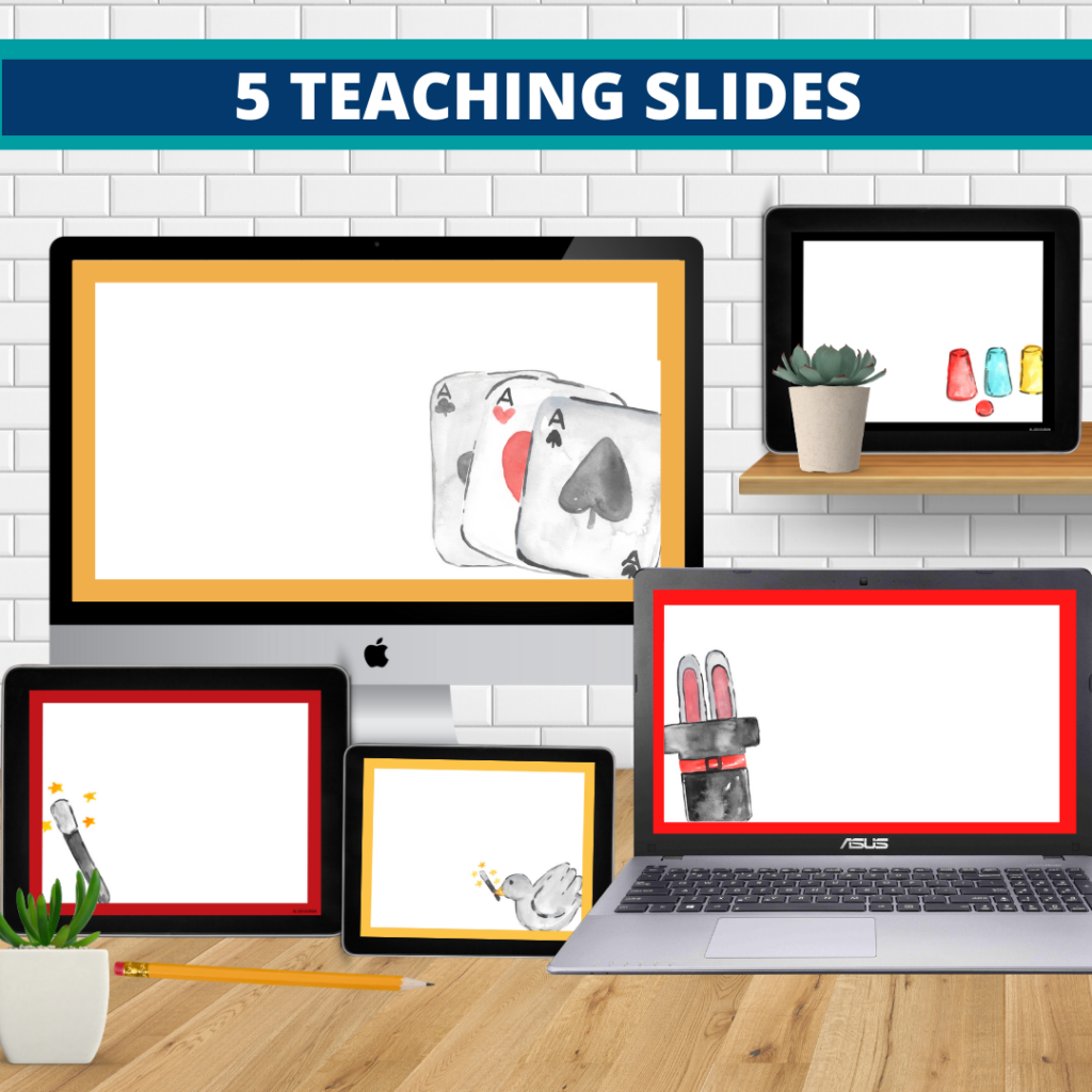 magic theme google classroom slides and powerpoint templates for elementary teachers shown on computers