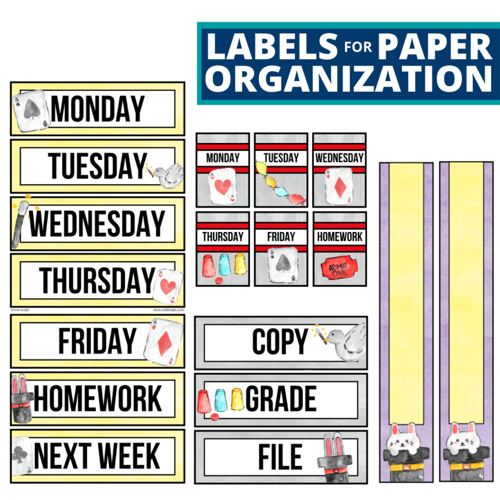 magic theme labels for paper organization in the classroom