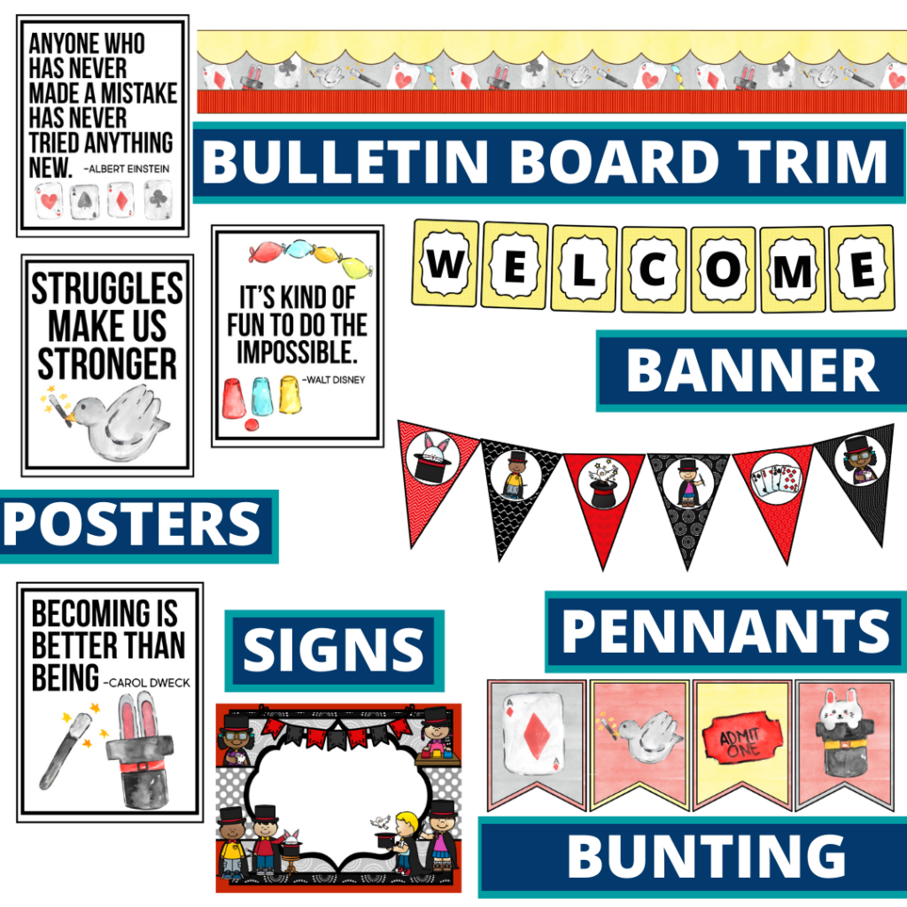magic theme bulletin board trim with pennants, banner and bunting