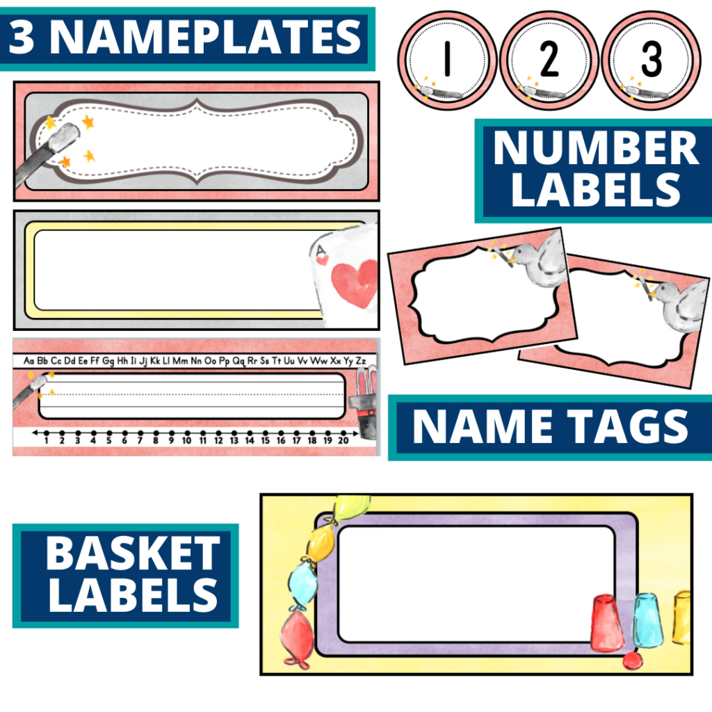 editable nameplates and basket labels for a magic themed classroom