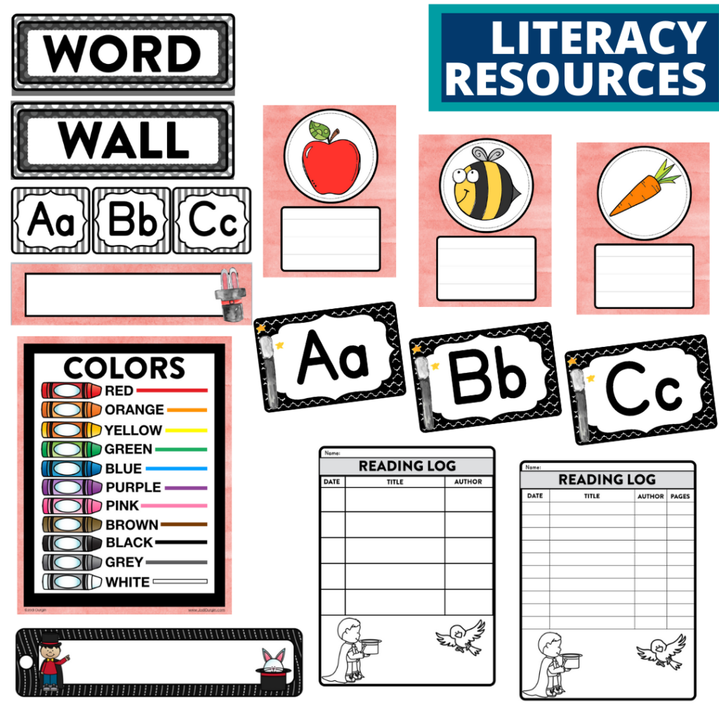 elementary classroom word wall and reading logs for a magic themed classroom