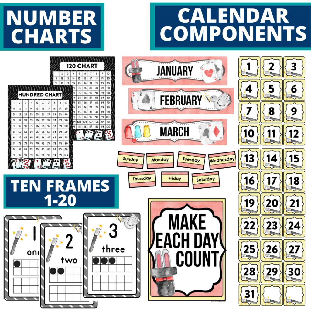 DIY printable classroom calendar for elementary teachers using a magic classroom theme