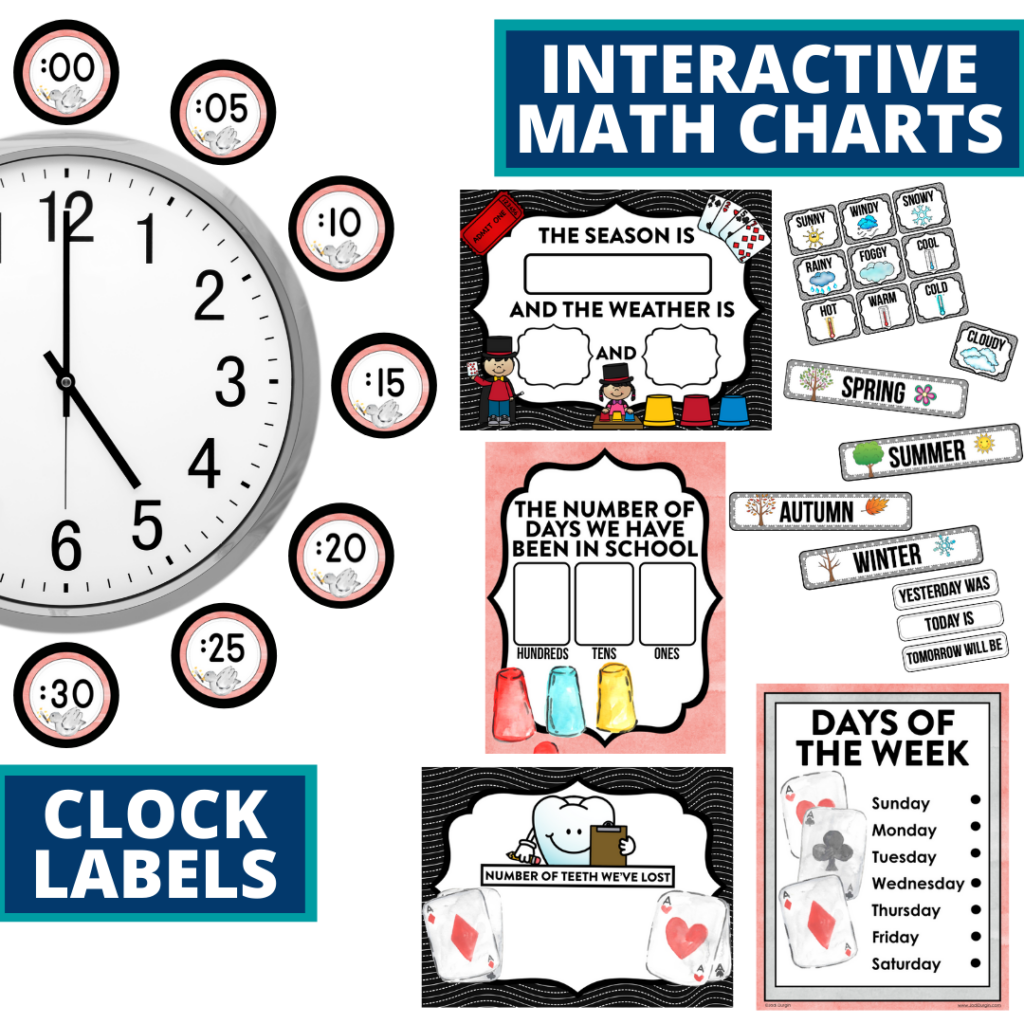 magic themed math resources for telling time, place value and the days of the week