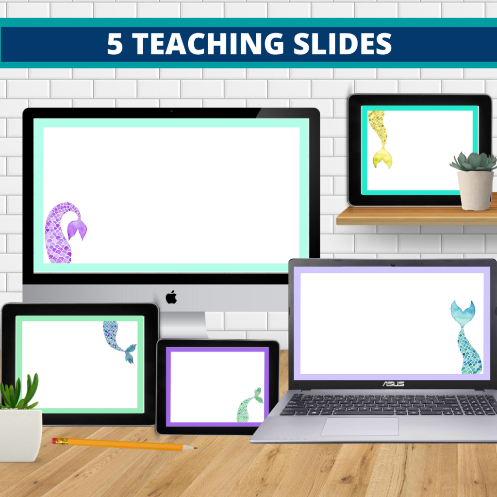 mermaid theme google classroom slides and powerpoint templates for elementary teachers shown on computers
