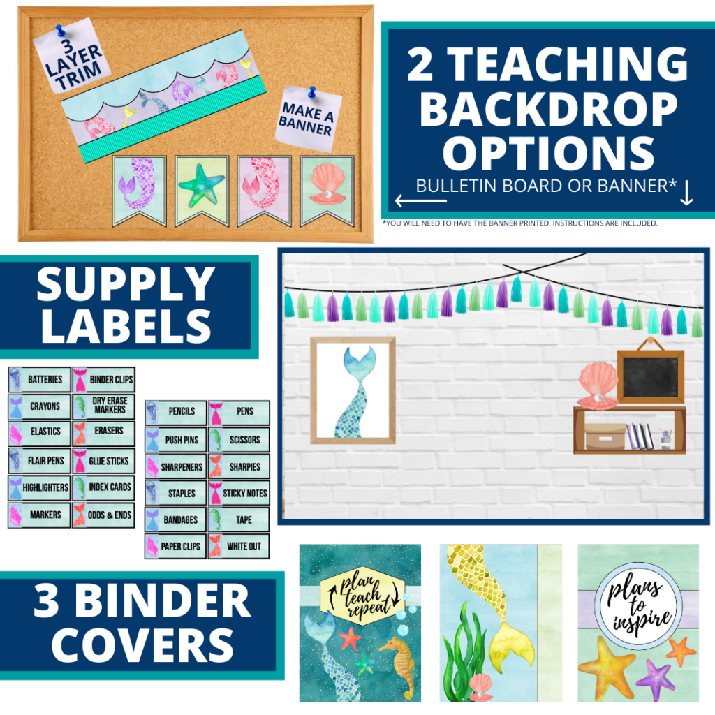 mermaid themed background for a cheap and easy online teaching or a VIP kid backdrop