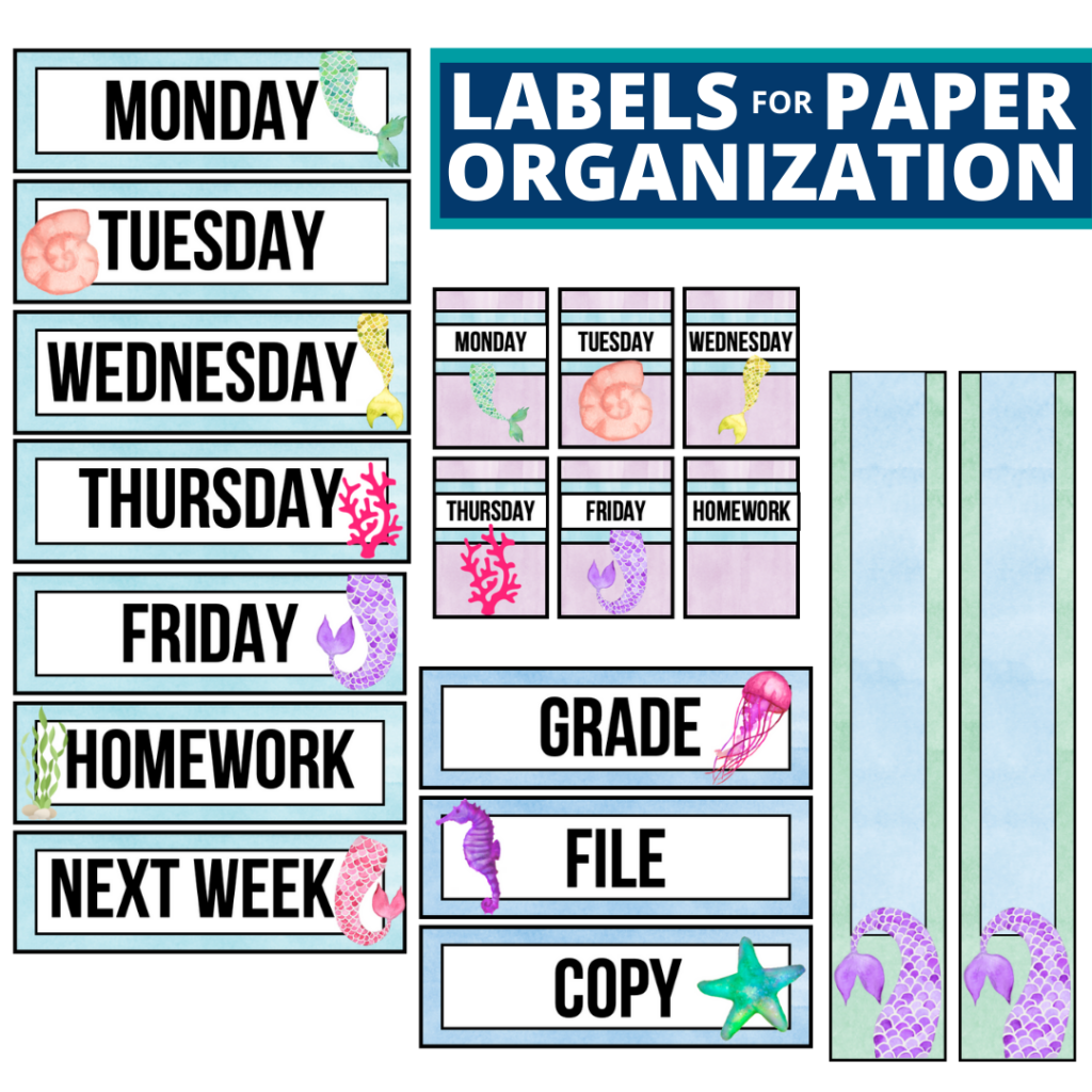 mermaid theme labels for paper organization in the classroom