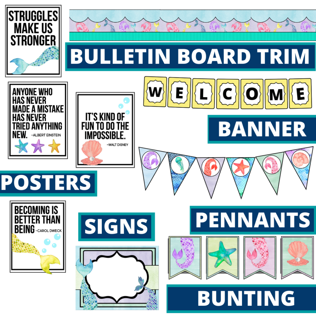 mermaid theme bulletin board trim with pennants, banner and bunting