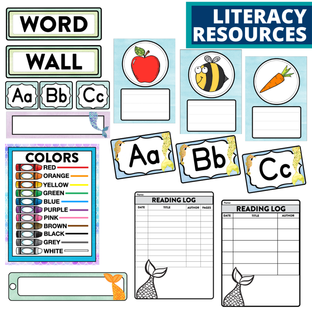 elementary classroom word wall and reading logs for a mermaid themed classroom