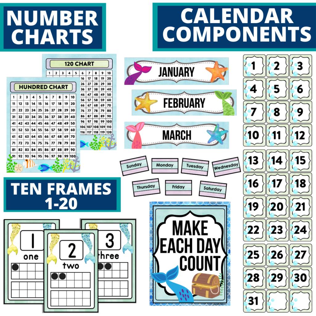 DIY printable classroom calendar for elementary teachers using a mermaid classroom theme