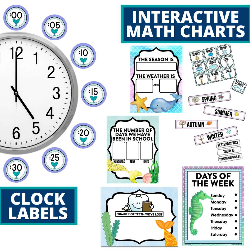 mermaid themed math resources for telling time, place value and the days of the week
