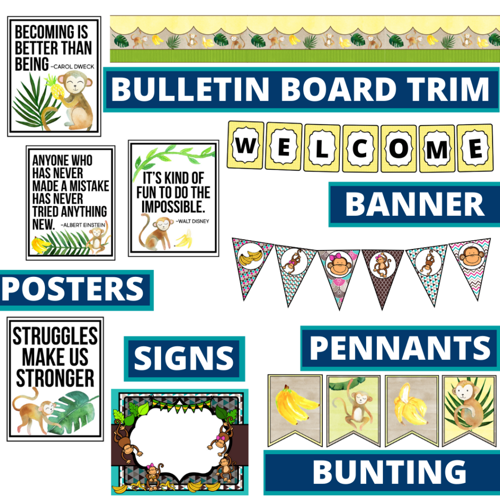 monkey theme bulletin board trim with pennants, banner and bunting