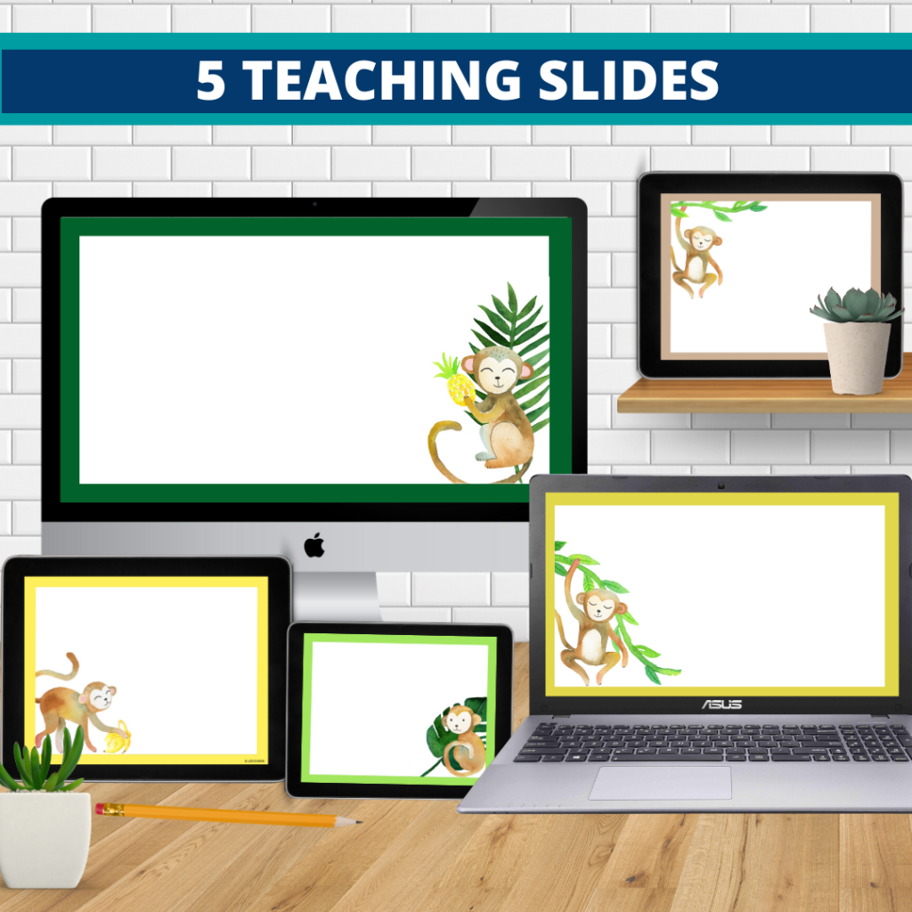 monkey theme google classroom slides and powerpoint templates for elementary teachers shown on computers