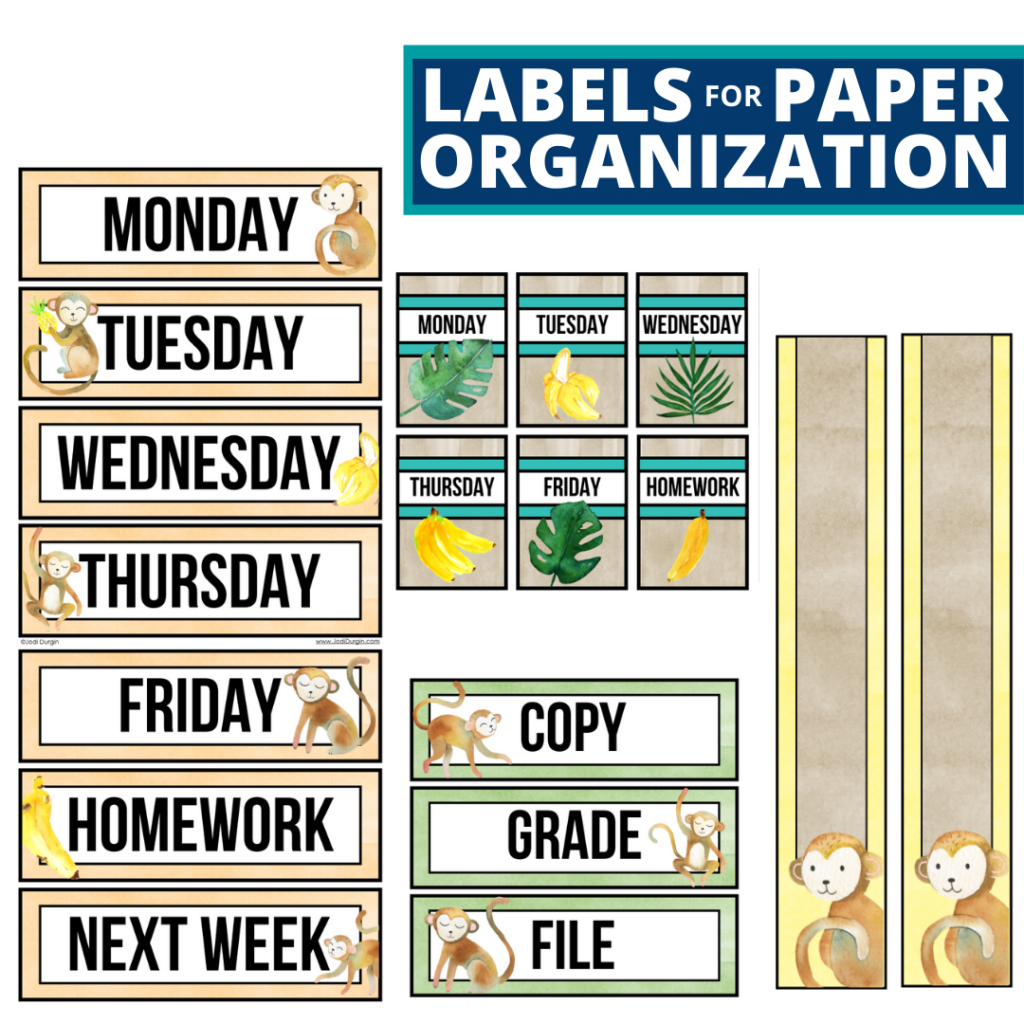 monkey theme labels for paper organization in the classroom