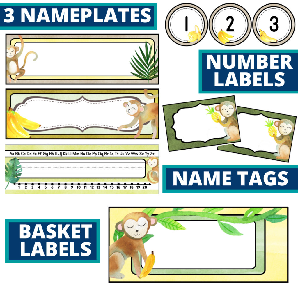 editable nameplates and basket labels for a monkey themed classroom